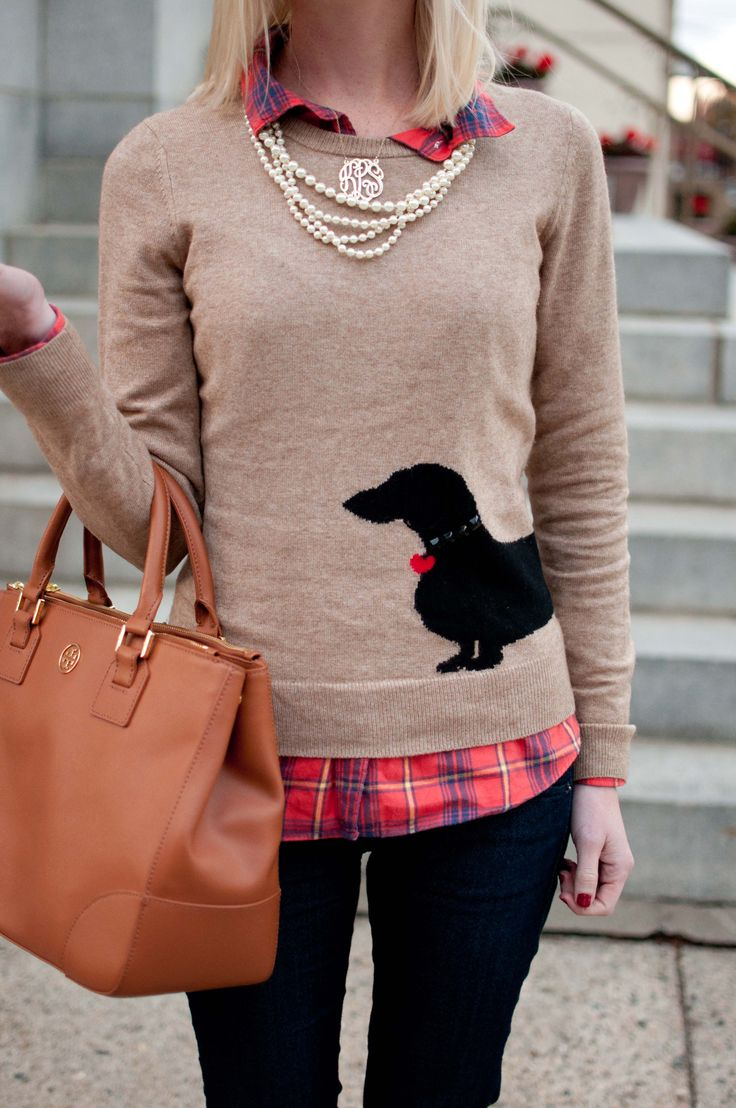 TGIF, Fall-Style: Doxie Sweaters, Flannel + Pearls - Kelly in the City