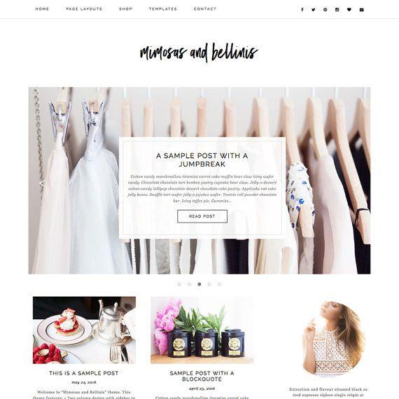 "Premade Wordpress Theme ""Mimosas & Bellinis"" - Responsive E-Commerce Self-Hosted Wordpress Blog Theme"