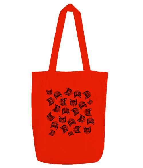 Mollycat Muddle @printmotor  (black print on tote bag) #mollycatfinland #bags #style #fashionaccessories #madeinfinland #cats #catdesigns #kissa #katter #katzen #totebags #new #red #printmotor