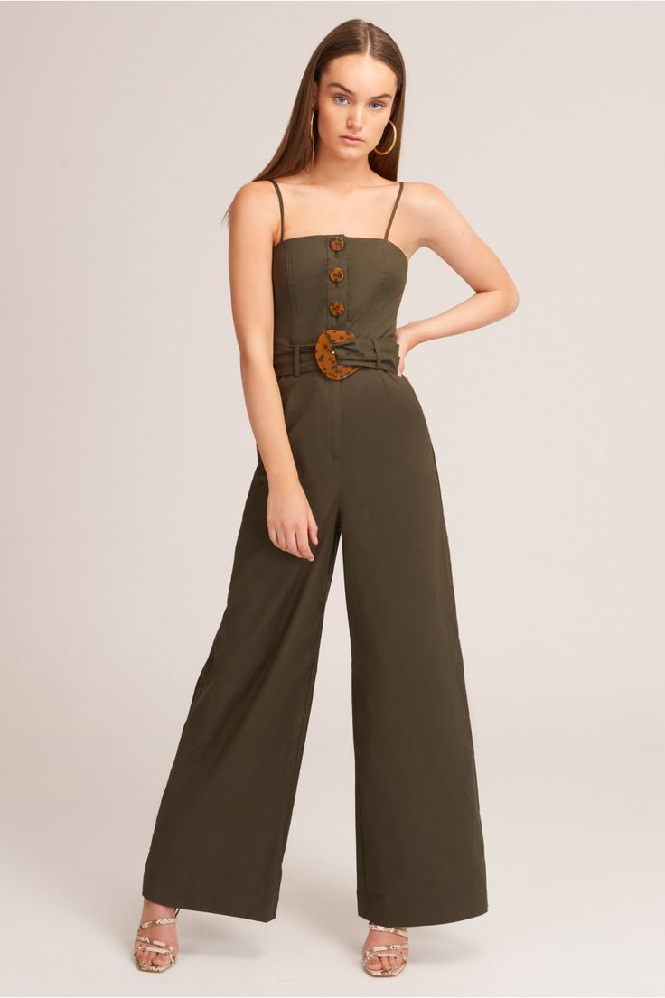 Jada Pantsuit In Forest Green Pantsuit Stretch Cotton Fabric Shopping Outfit