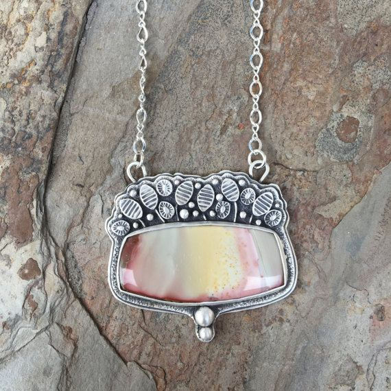 Willow Creek Jasper Necklace in Fine Silver. Designer Cabochon