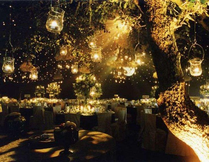 Decorazioni per il matrimonio all'aperto - Candele in vasetti pendenti
