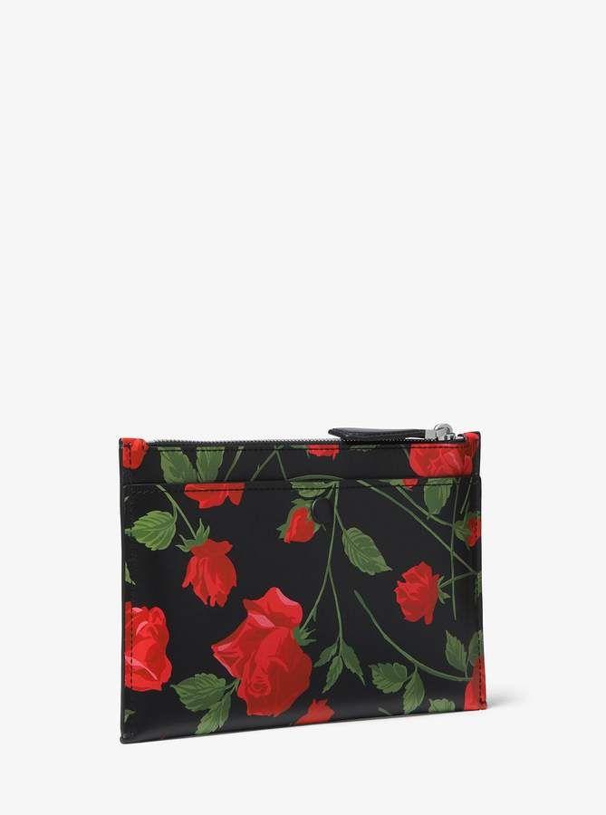 3a0c32c64c9d Michael Kors Collection Bancroft Large Rose Calf Leather Pouch ...
