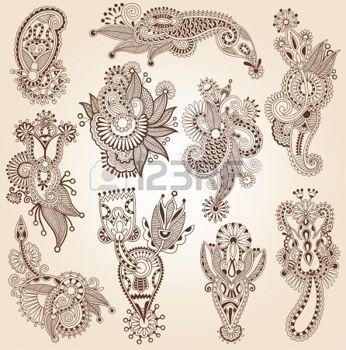 Linea arte ornato raccolta fiore design, stile etnico ucraino, AutoTrace di disegno a mano photo