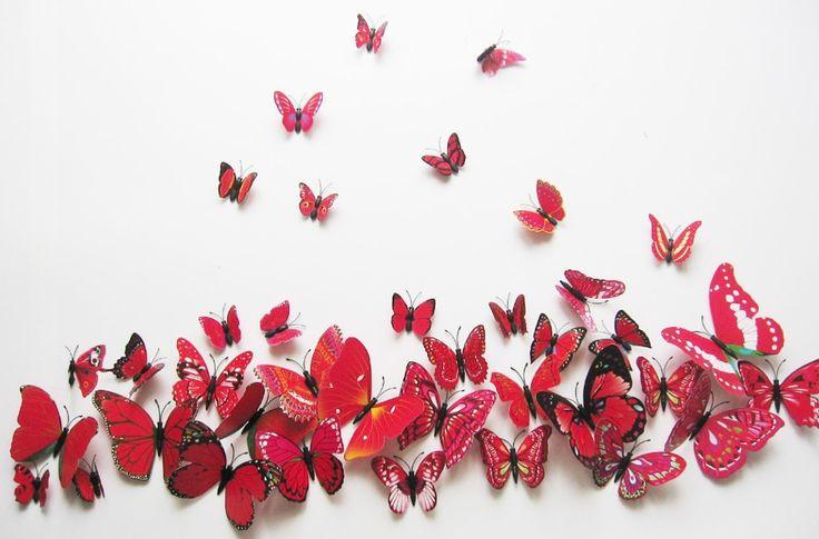 Wall Sticker - Pop-up Butterflies - Red