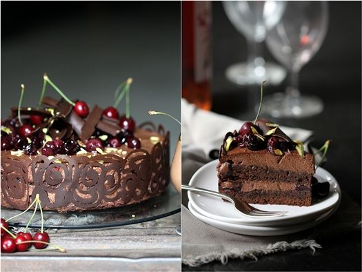 Thermomix - Dark Chocolate Cherry Mousse Cake