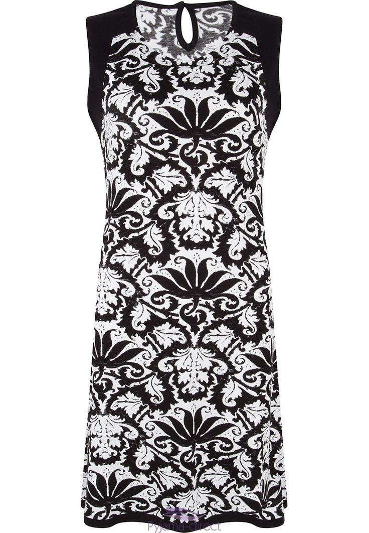 "Stylish monochrome ""vintage floral design"" sleeveless dress from Pastunette Beach"