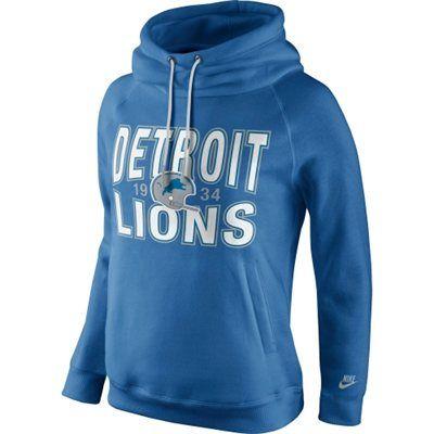 Detroit Lions Nike Women's Rewind Rally Funnel Hoodie – Light Blue