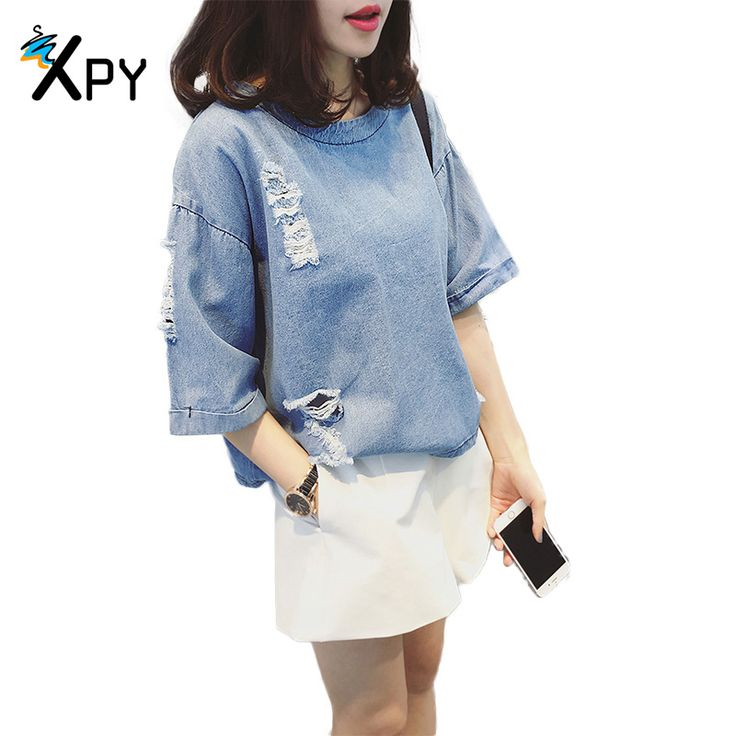 [XPY] Summer Women t Shirt Korean casual scratches holes Loose denim short - sleeved shirt solid color Hooded t shirt Women
