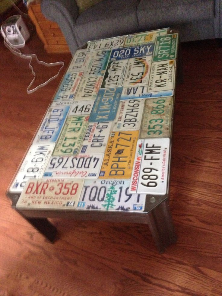 License Plate Table Projects Pinterest License