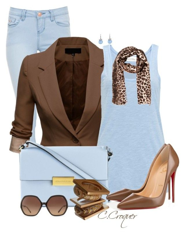 """Baby Blue & Brown Outfit"" by ccroquer ❤ liked on Polyvore featuring J.TOMSON, American Vintage, STELLA McCARTNEY, Christian Louboutin, Chloé, By Malene Birger and Chantal Simard"