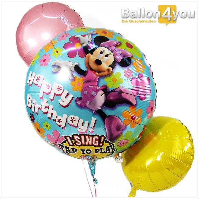 Singendes Ballonbukett Minnie Maus - Alles Gute zum Geburtstag       Minnie Maus höchstpersönlich gratuliert dem Geburtstagkind. Dafür hat sich etwas Besonders einfallen lassen. Ein leichter Klapps auf den Ballon genügt und Minnie Maus singt ein Happy Birthday-Ständchen a cappella. Zwei weitere, bunte Ballons runden dieses singende Geschenk ab. Der absolute Hit zum Geburtstag!