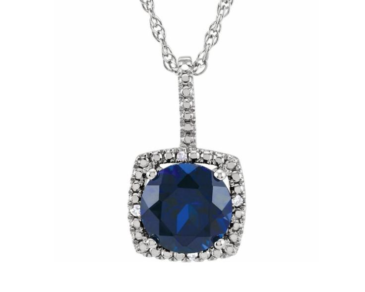Simply Glamorous Jewellery-18ct Gold Filled Ball Pendant/Chain Blue Sapphire Cubic Zirconia hVd1UzF