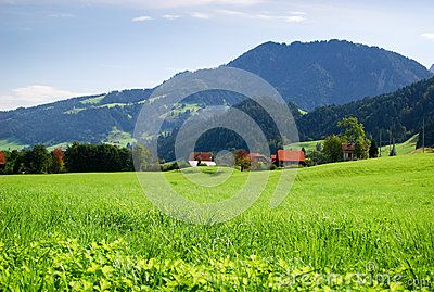 Typical Swiss landscape, with a green grass field, some farm houses in the distance and a mountain in the background.