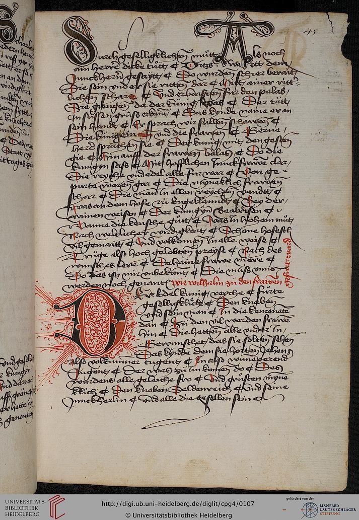 Cod. Pal. germ. 4 Rudolf von Ems: Willehalm von Orlens ; Dietrich von der Glesse: Der Gürtel (Borte) ; Peter Suchenwirt: Liebe und Schönheit u.a. — Schwaben/Grafschaft Oettingen (?), 1455-1479 45r