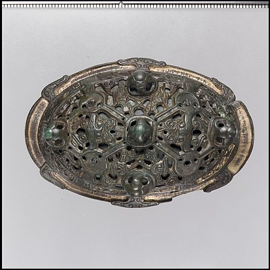 Oval Brooch.  Copper alloy, gilt. Viking.  10th century.