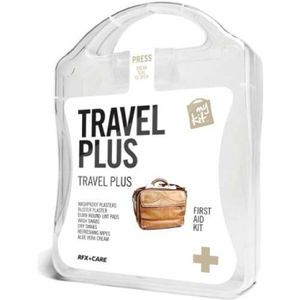 The MyKit Travel Plus includes Washproof Plasters x 12, Blister Plaster x 1 Refreshiong Wipes x 2, Aloe Vera x 1 Wash Swabs x 4, Dry Swabs x...