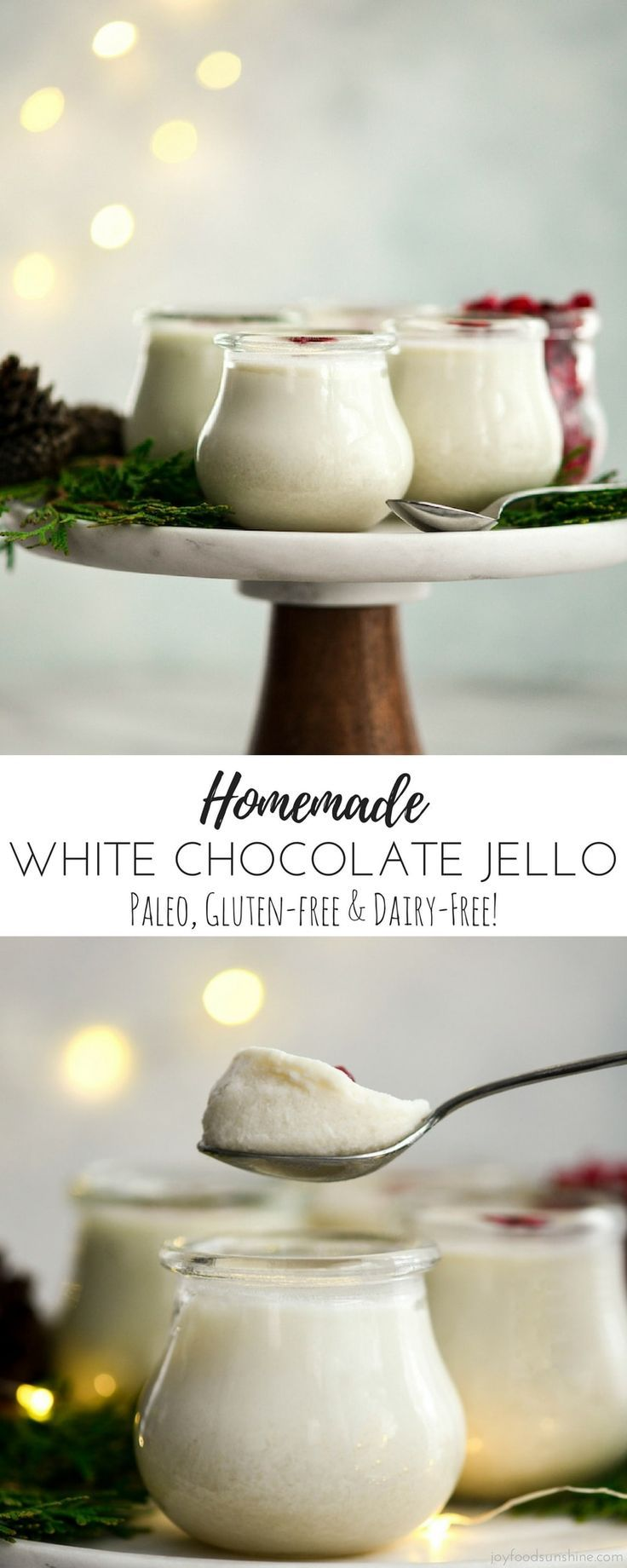 This Paleo Homemade White Chocolate Jello is a light and delicious healthy dessert recipe with only 6 ingredients! It's gluten-free & dairy-free and can be served in elegant little dishes or made into shapes for a fun kid-friendly treat! #homemade #jello