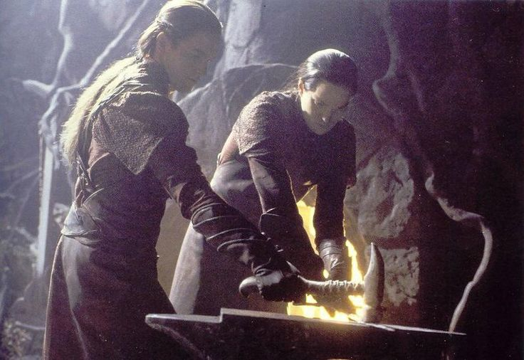 Noldor smiths reforging Narsil. New Line Cinema. Lord of the Rings.