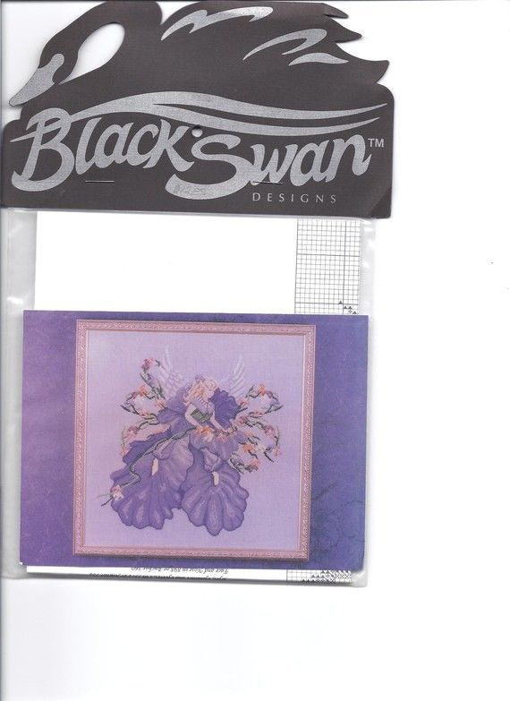 Iris The Flower Angel Black Swan BS-13 1995 Cross Stitch Chart Karen Weaver #BlackSwan #Frame