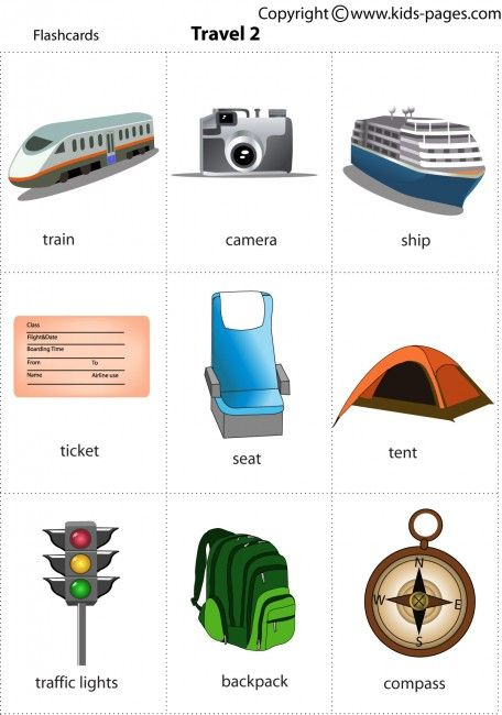 Printable flash card illustrating: train, camera, ship, ticket, seat, tent, traffic lights, backpack, compass / Travel
