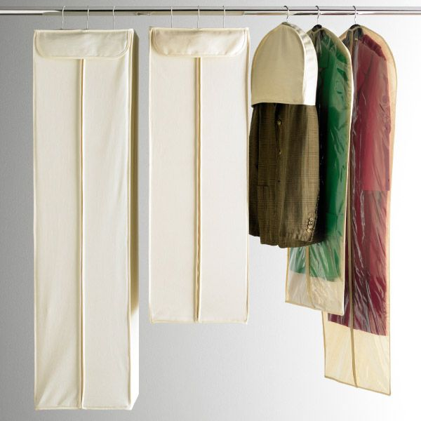Canvas garment bags keep clothes dust free and your closet looking neat.