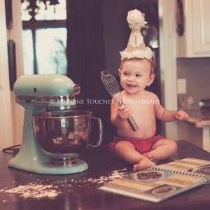 "First Birthday Pictures. ""Baking birthday cake""."
