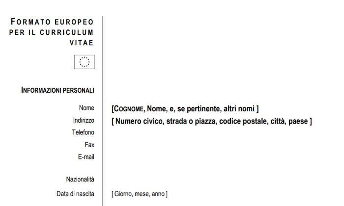 Curriculum Vitae Europeo Esempio E Download Modello Word E Pdf
