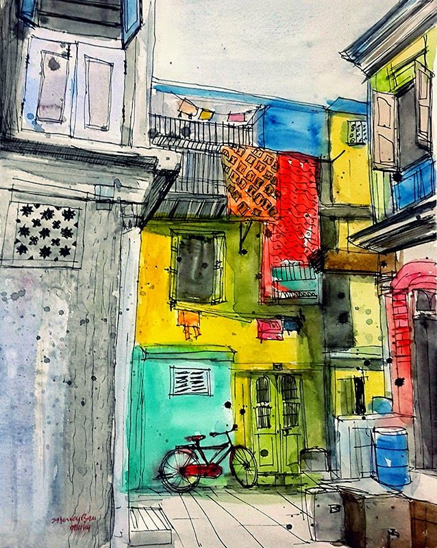 Urban Sketchers: India. This is a typical narrow street in the city. I tried to catch the atmosphere here: narrow street, vivid colors of the walls, hanging saris. Wherever you start looking at the sketch your eyes will end on that red gent's bicycle.