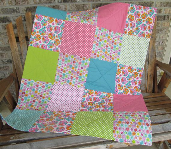 Baby Quilt Girl Owl Crib Bedding Baby Toddler by AngelBabyQuilts, $110.00