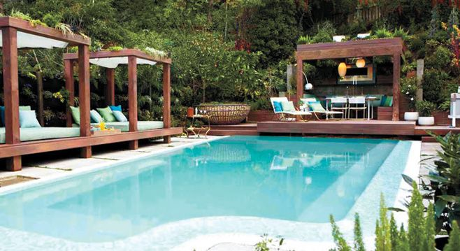 Sleeping/Swiming party at this house!Pools Area, Outdoor Oasis, Backyards Pools, Outdoor Fabrics, Jamie Durie, Outdoor Room, Pools Cabana, Outdoor Spaces, Outdoor Pools