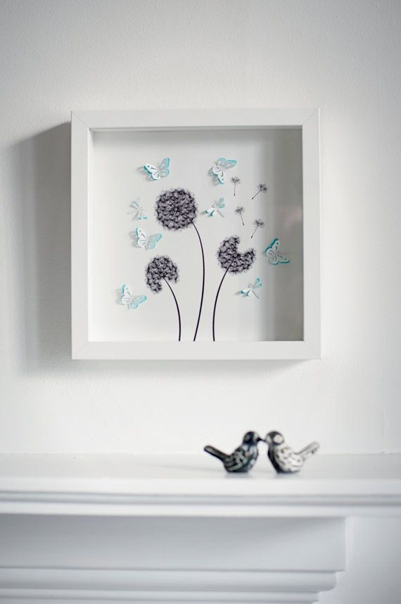 Beautiful handmade box frame picture with 3d butterflies and dragonflies