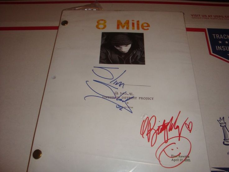 8 MILE SCRIPT AUTOGRAPHED BY BRITTANY MURPHY AND EMINEM