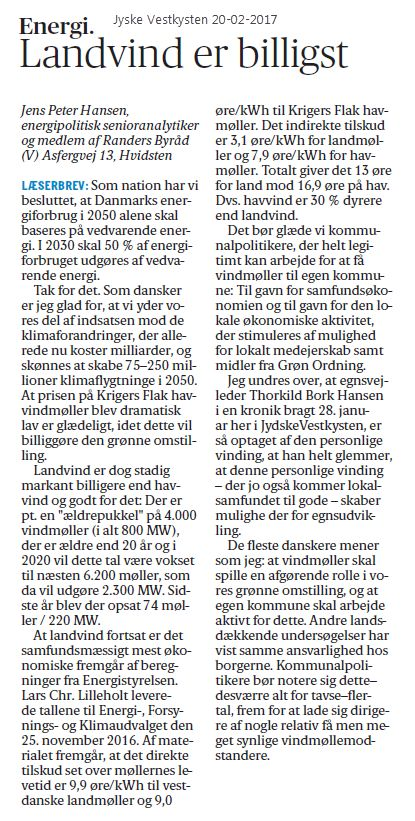 Klimaforandringer kender hverken sogne- eller kommunegrænser. Om der kommer møller op i Tønder eller Randers har samme positive effekt. Specielt i Tønder er der rigtig god plads: Pt. har de 2 møller mod 49 i Randers (navhøjder > 50 meter)