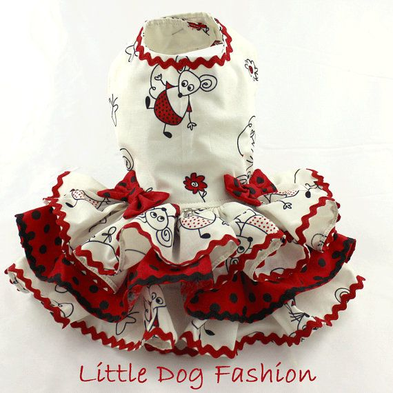 Spring Summer dress for dogs Mouse Print in by LittleDogFashion