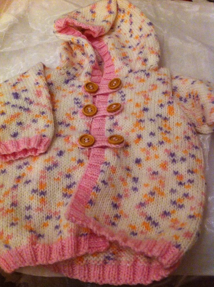 Pink spotted baby hooded top