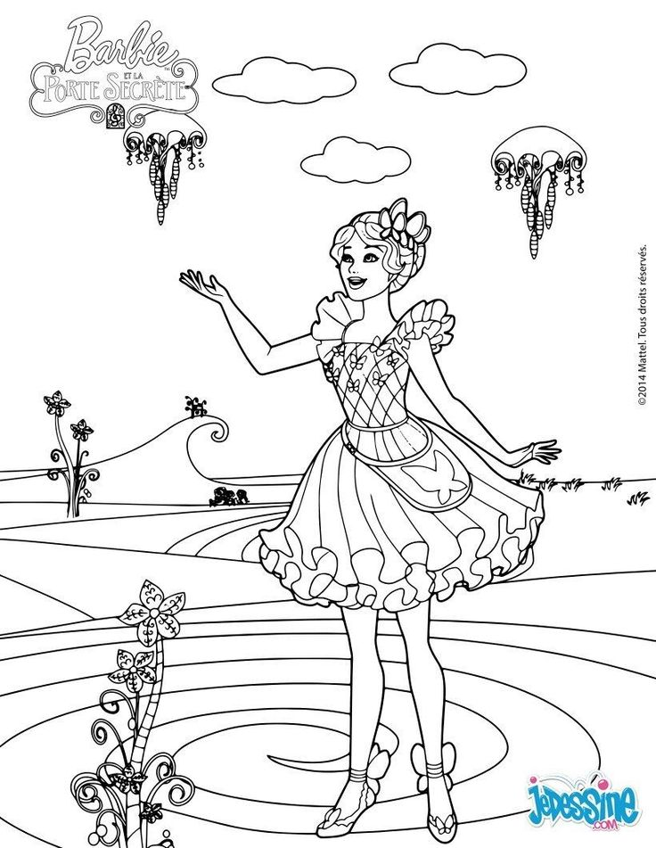 Barbie Little Girls Coloring Pages Being Happy Secret Doors The Fairy Unicorns Queen