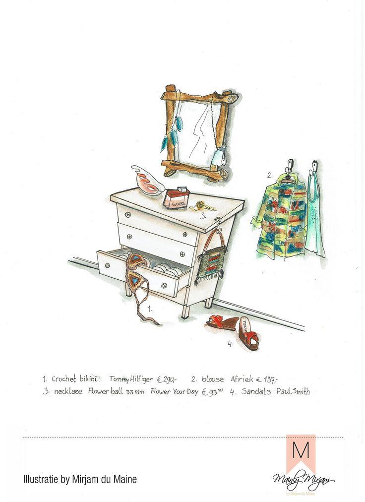 #ELLEtekenwedstrijd #illustratie made by #MirjamduMaine Daisy's #kleedkamer met haar favoriete merken #parfume #wood #dsquared  #bikini #tommyhilfiger #ketting #floweryourday #schoenen #paulsmith #aquarel #pentekening #mode #color #interieur #styling #madewithloveintheheartofholland #stijlretaildesign #mainlymirjam