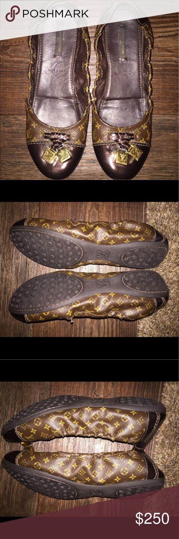 Authentic Louis Vuitton Ballet Flats 💥PRICEDROP💥 AUTHENTIC Louis Vuitton Ballerina Flats Size 38 that is Supposed to Be A 8 But There Shoes Run Small So Id Say More Like A 7 They've Been Gently Used Only Wore A Few Times Cause They Was Too Small 😭 Purchased September 2011 In Las Vegas They Came Out That Fall They Still Have Similar Ones In Store Now So There Never Going Out Of Style!!! Louis Vuitton Shoes Flats & Loafers