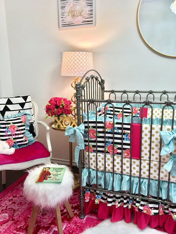 Hot Pink Crib Bumper, Watercolor Floral Stripe Dot Baby Girl Bumper, Aqua Crib Bumper, Baby Bumper Pads, Gold Dot Bumper Pads, Baby Bumper Baby girl bumper made with the adorable watercolor floral stripe print! This pink crib bumper has sweet bows and pretty gold dot and aqua for a