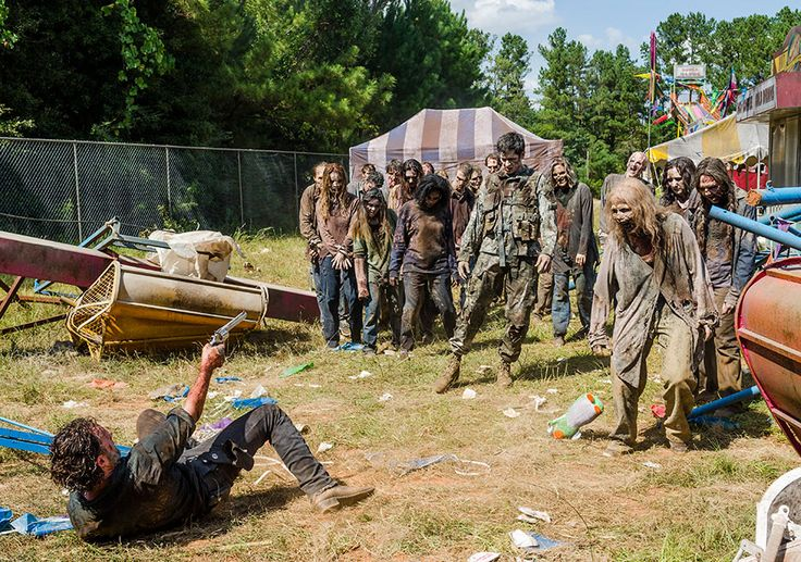 AMC's 'The Walking Dead,' Season 7, Episode 12, Say Yes, Rick Grimes in the carnival of walkers