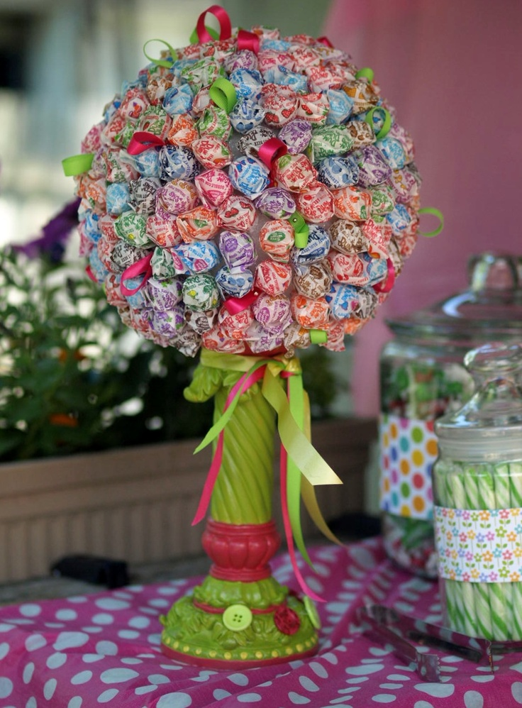 Lollipop topiary my sister made for Sophia's first birthday party