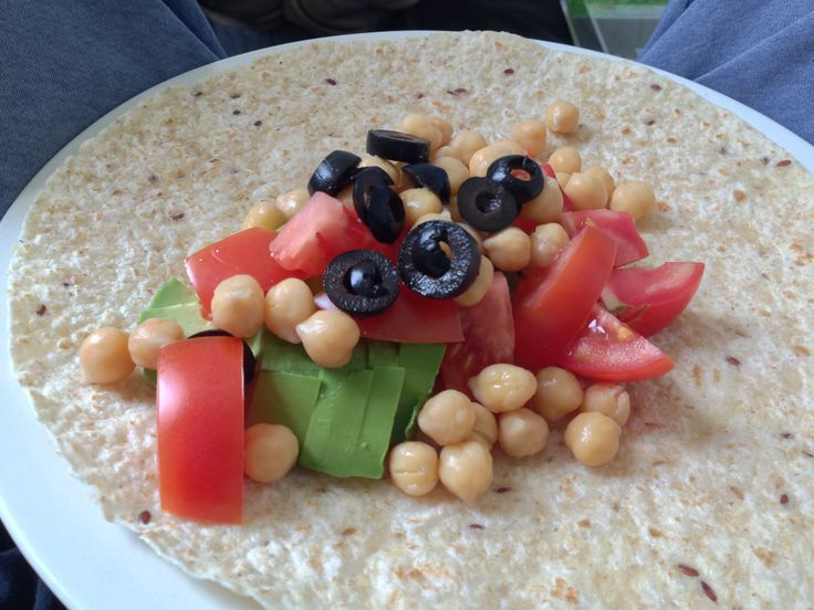 Salad burrito - avocado, tomato, chickpeas, olives