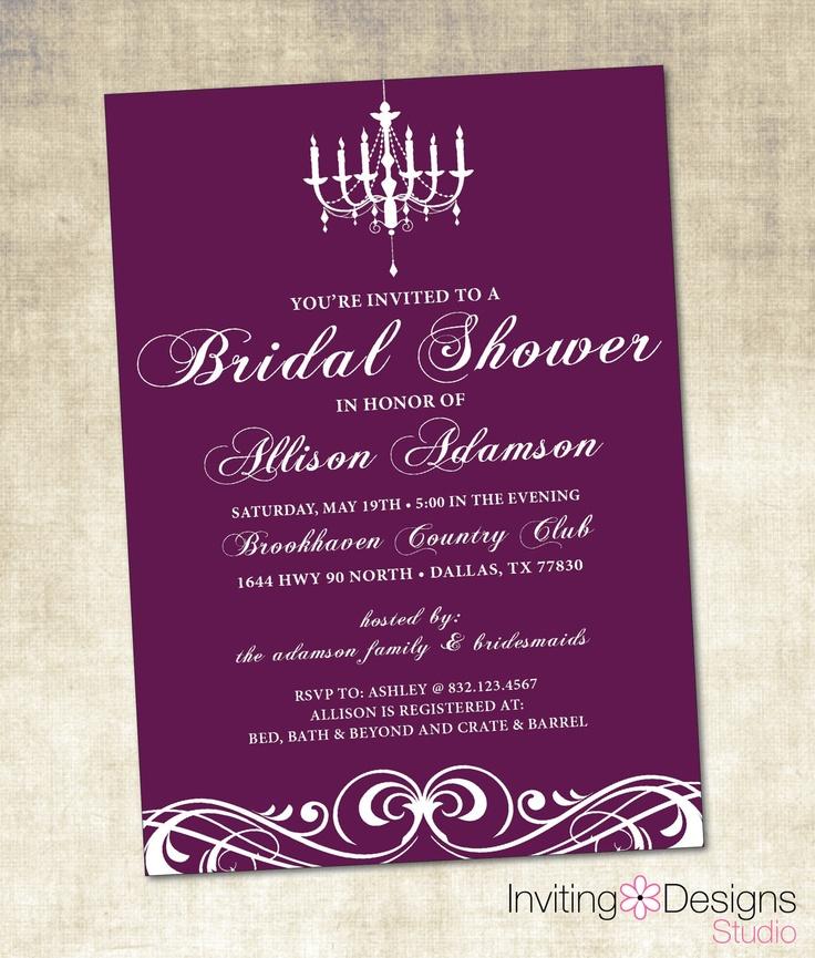 bed bath and beyond wedding invitation kits%0A Purple Bridal Shower Invitation  PRINTABLE FILE   Customize Background  Color          via