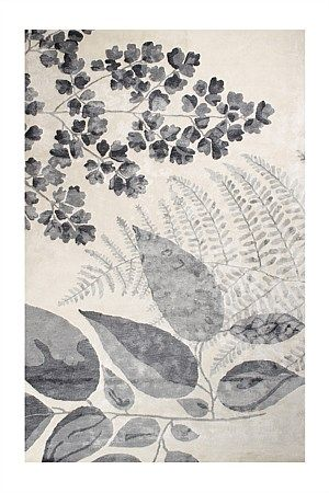 Designers Guild Jindai - a glorious hand-tufted viscose rug, both bold and neutral, balancing large sprays of chinese botanical brushwork, with a muted graphite palette to create harmony in the home. deep piled and lustrous, this is a sensational statement rug.