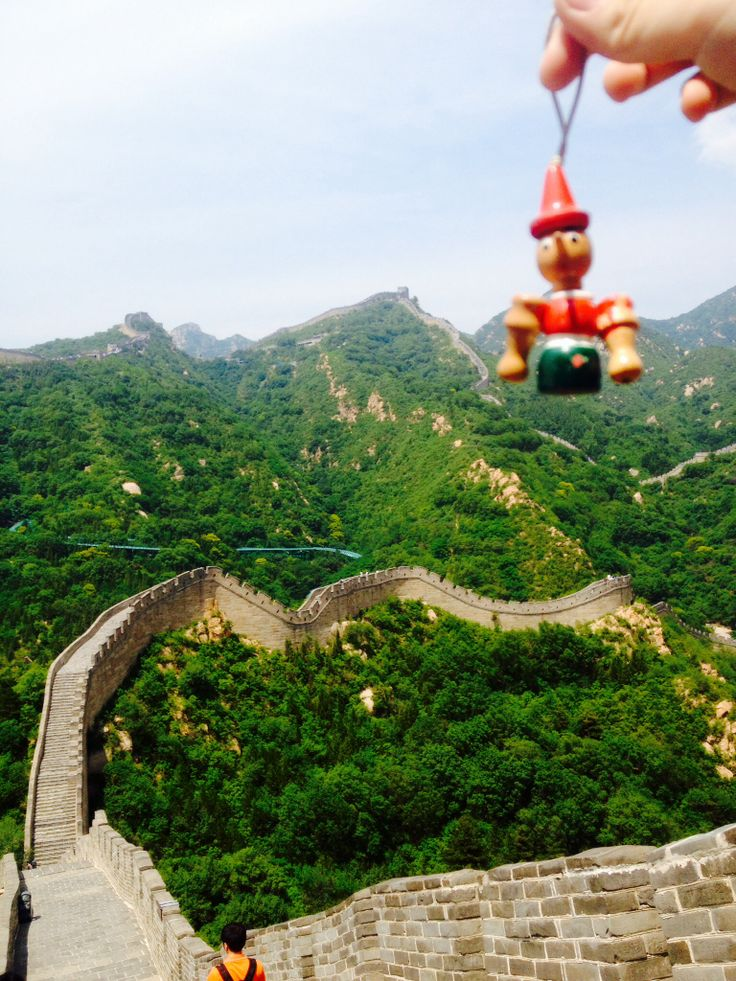 Pinocchio is climbing The Great Wall.