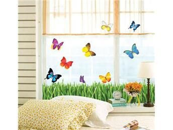Väggdekor 10 st fjärilar och gräsmatta