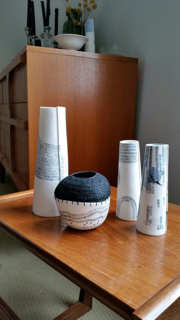 Ceramic & Weaving.  Raffia, paper silk and porcelain. Philippa A Taylor