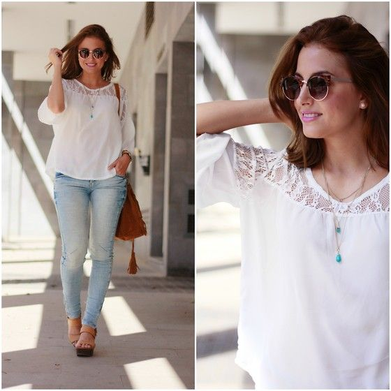 Get this look: http://lb.nu/look/7759838  More looks by Carolina González Toledo: http://lb.nu/carolinatoledo  Items in this look:  Stradivarius Sunglasses, Cn Direct Blouse, Primark Necklace, Primark Jeans, Primark Heels, Cn Direct Bag   #chic #romantic #ootd #fringes #look #white #fashionblogger #style #heels