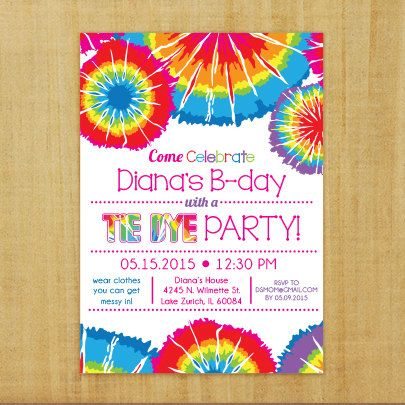 Tie Dye Invitation  Printable by PrintablesbySLP on Etsy